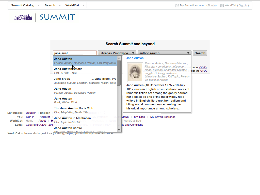 Author Autosuggest summit prototype