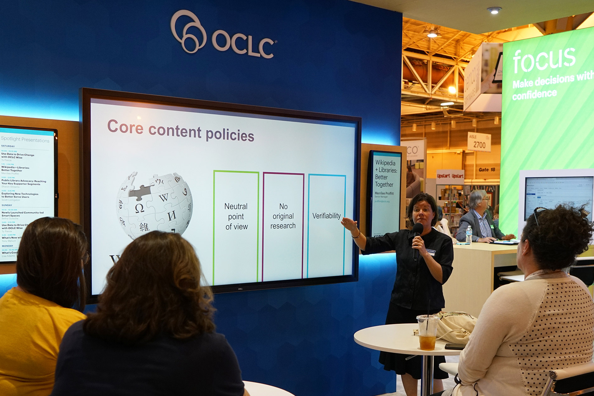 Photo of presentation at OCLC booth