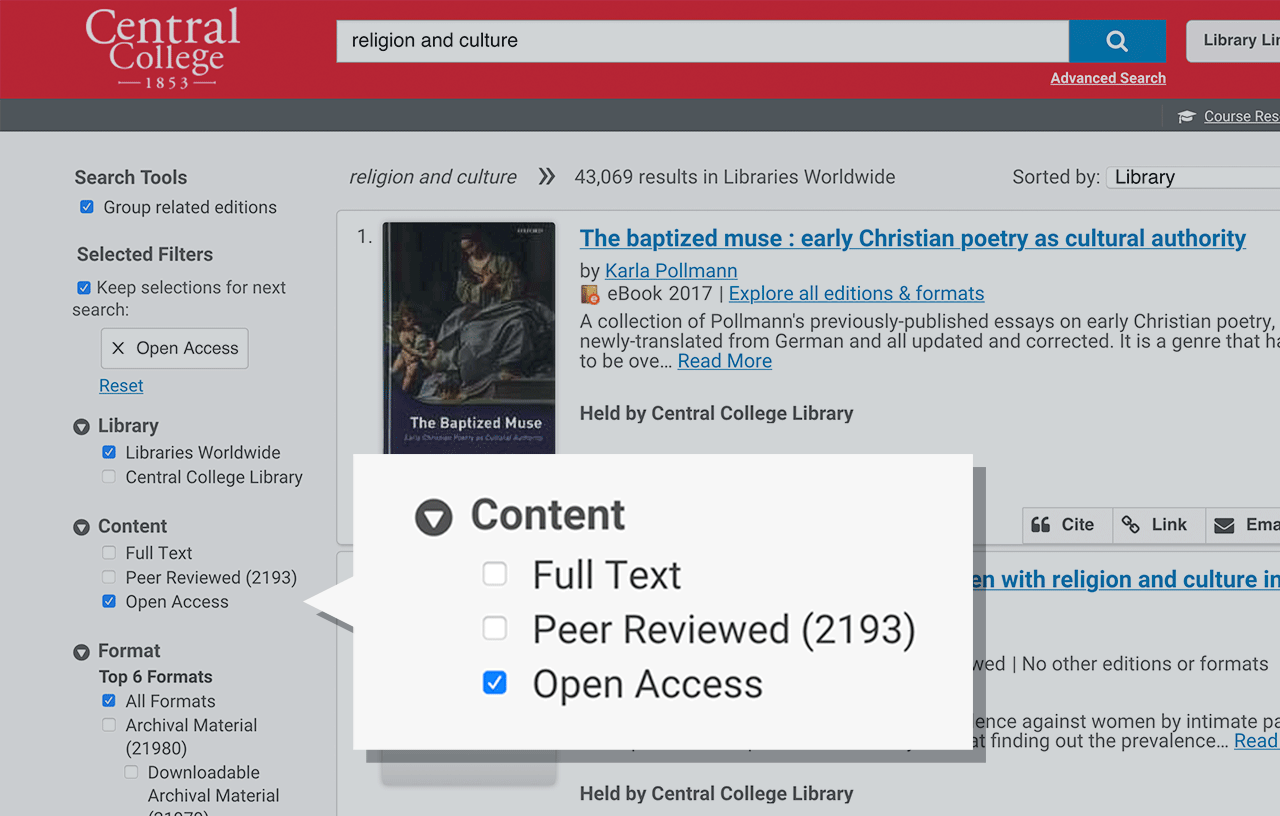Screen: WorldCat Discovery open access content filter