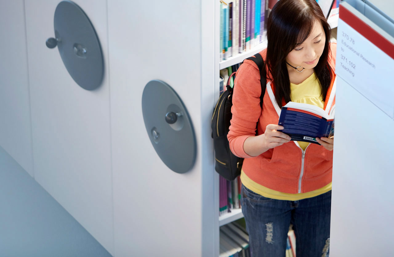 Photo: Student in print collection storage