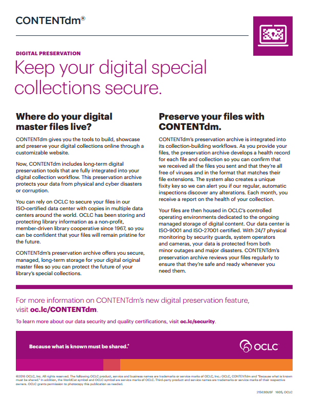 CONTENTdm Digital Preservation feature flier