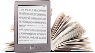 e-reader and book