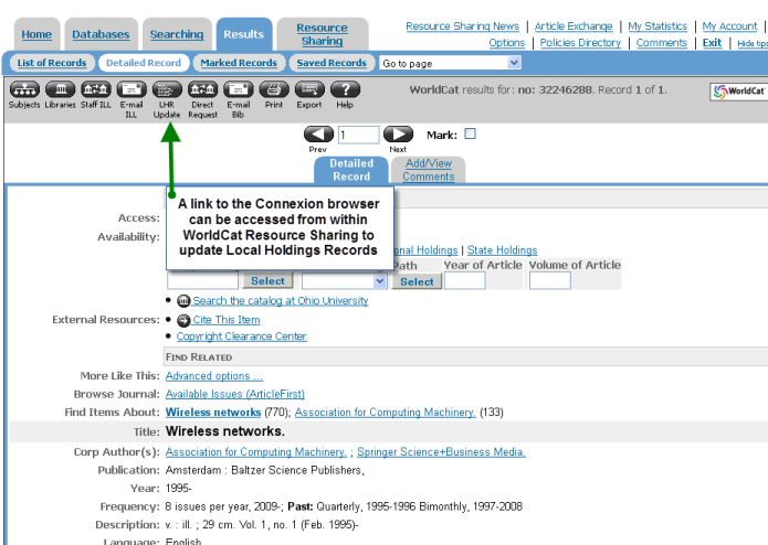 A link to the Connexion browser can be accessed from within WorldCat Resource Sharing to update Local Holdings Records