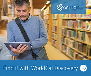 Find it with WorldCat Discovery. Image of man searching on a laptop in a library