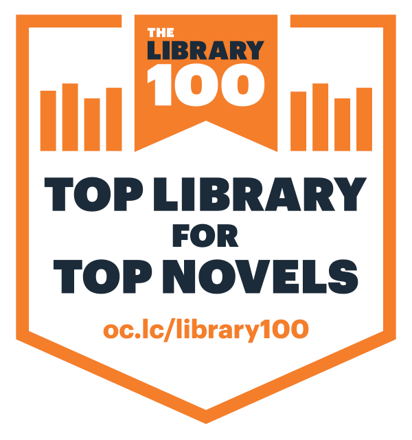 Image: Library 100 badge graphic for web use