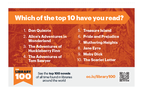 Image: Library 100 table tent -- Top 10 Titles