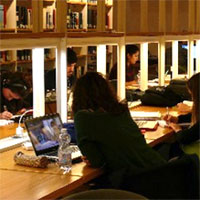 interior of the library at John Cabot University [photo]