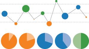 Illustration of graphs showing analytics