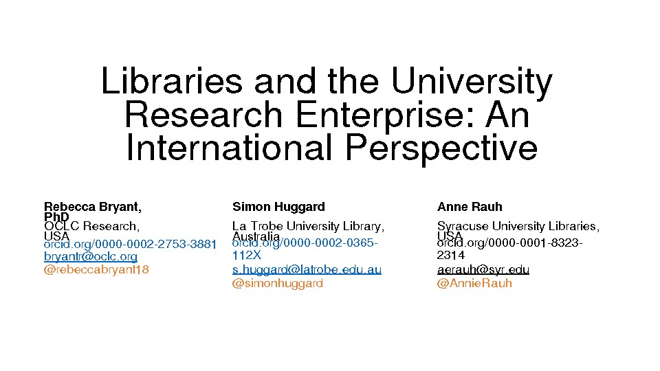 Libraries and the University Research Enterprise: An International Perspective