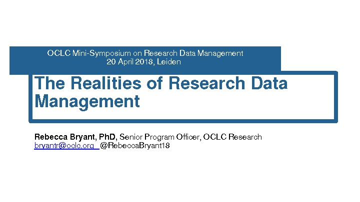 The Realities of Research Data Management