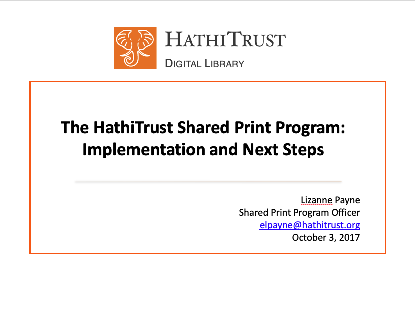 HathiTrust and Shared Print
