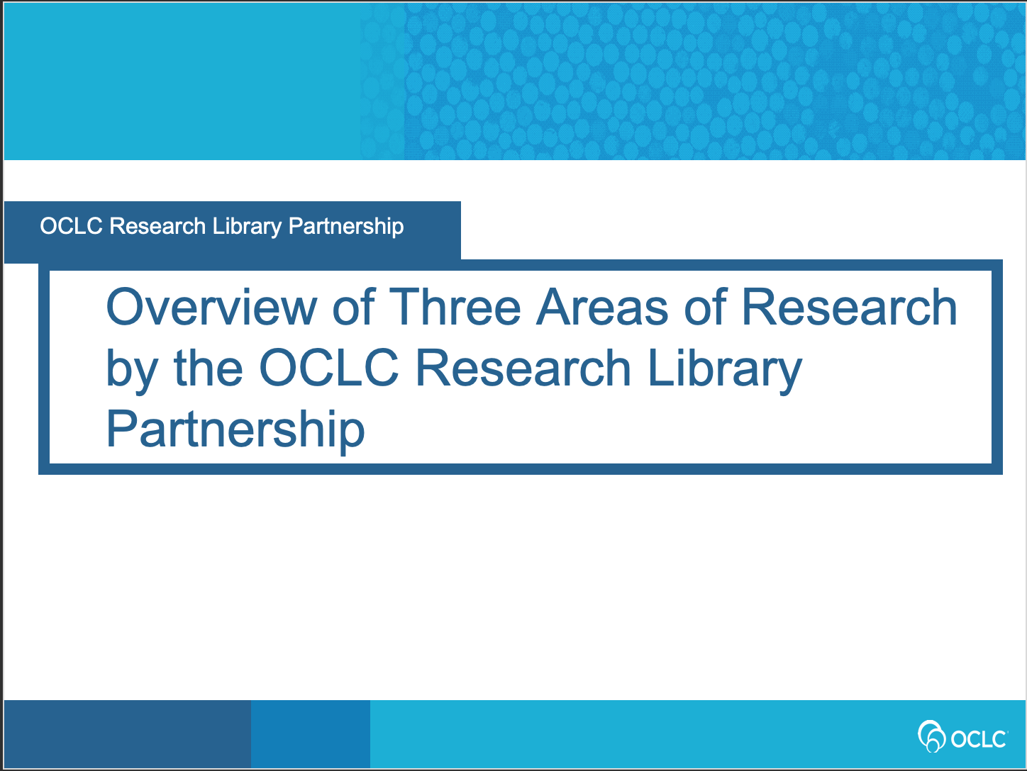 Overview of Three Areas of Research