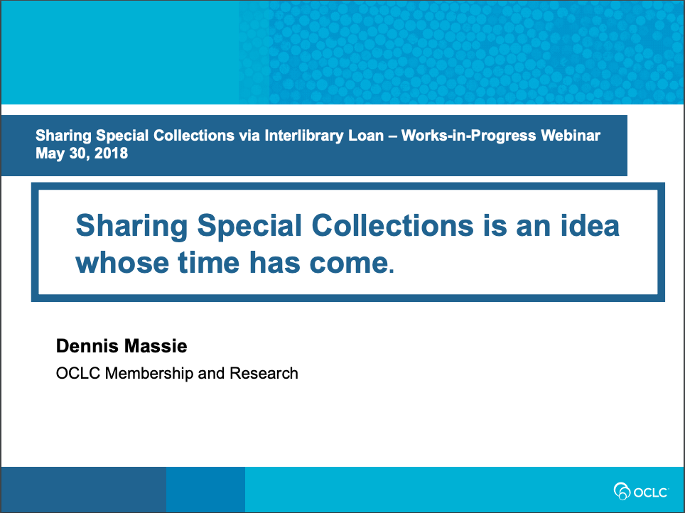 Sharing Special Collections is an Idea Whose Time Has Come