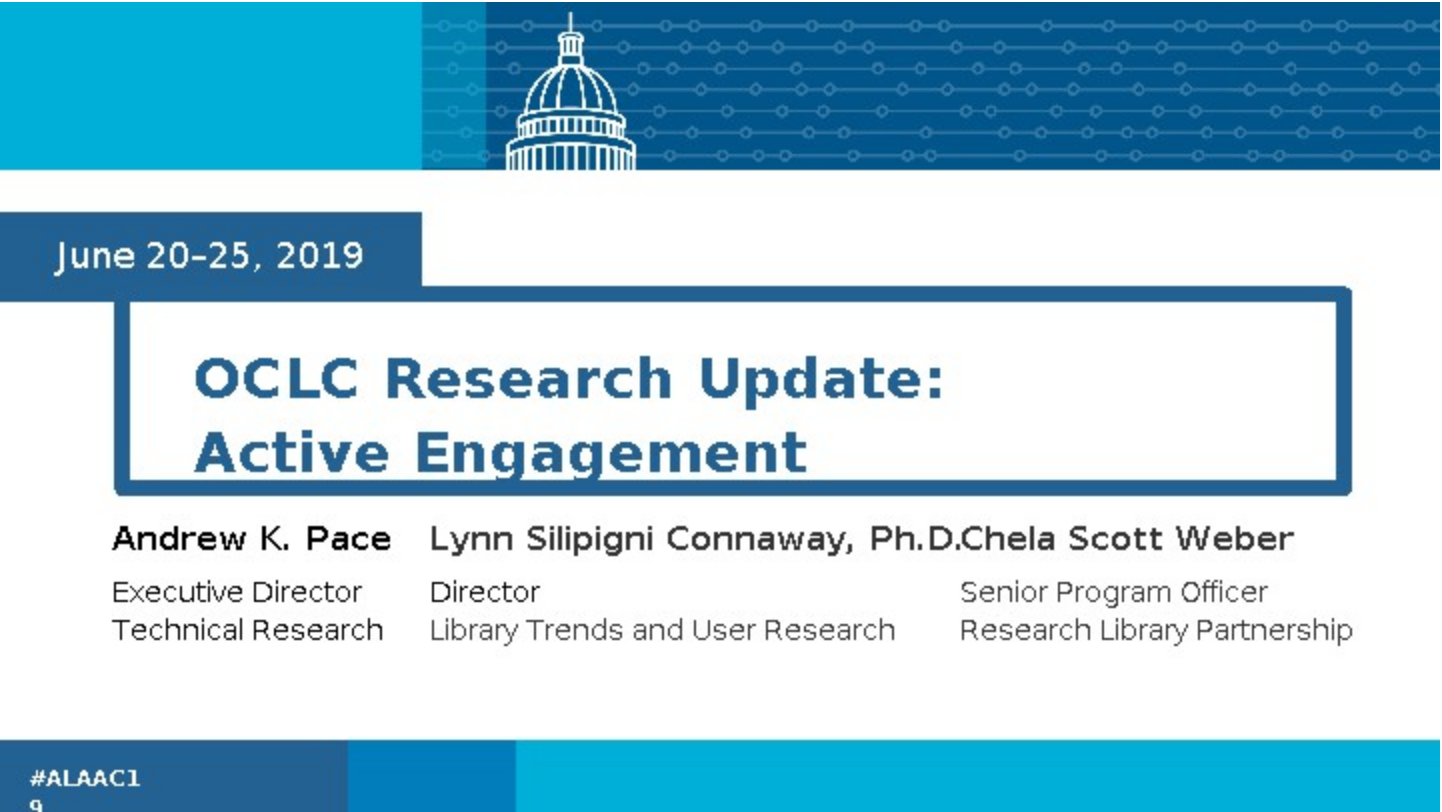 OCLC Research Update: Active Engagement