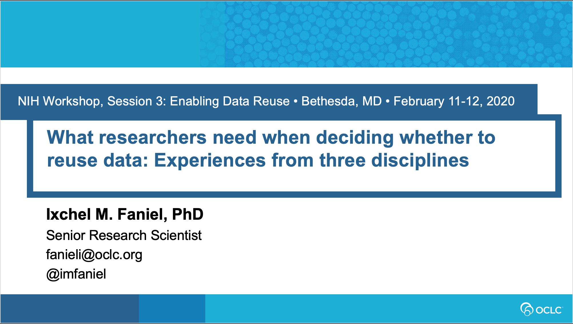 What researchers need when deciding whether to reuse data: Experiences from three disciplines