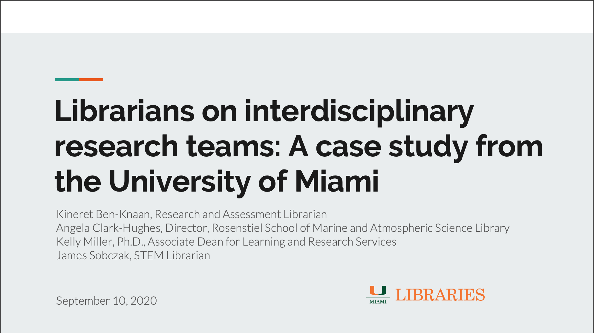 Librarians on interdisciplinary research teams—a case study from the University of Miami