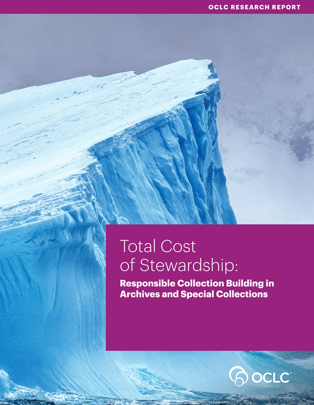 An image of the report's cover that has a large iceberg with waves crashing against it, along with the report's title.