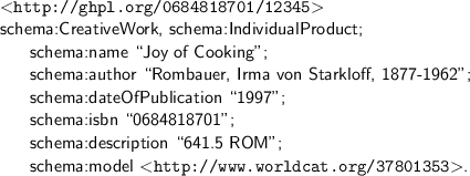 A hypothetical RDF/Turtle description of a library's copy of Joy of Cooking