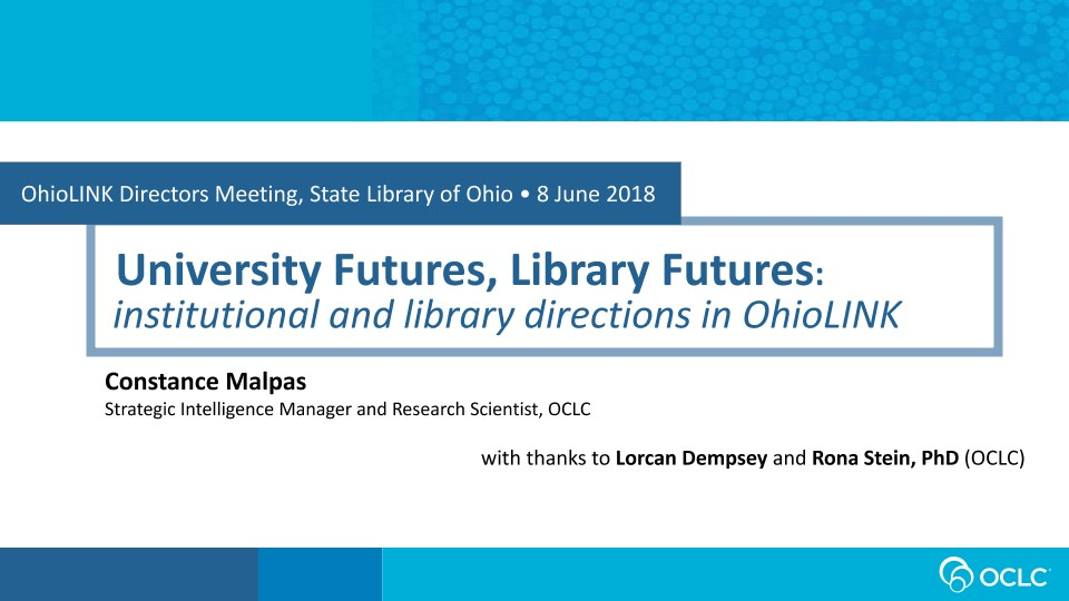 University Futures, Library Futures: institutional and library directions in OhioLINK