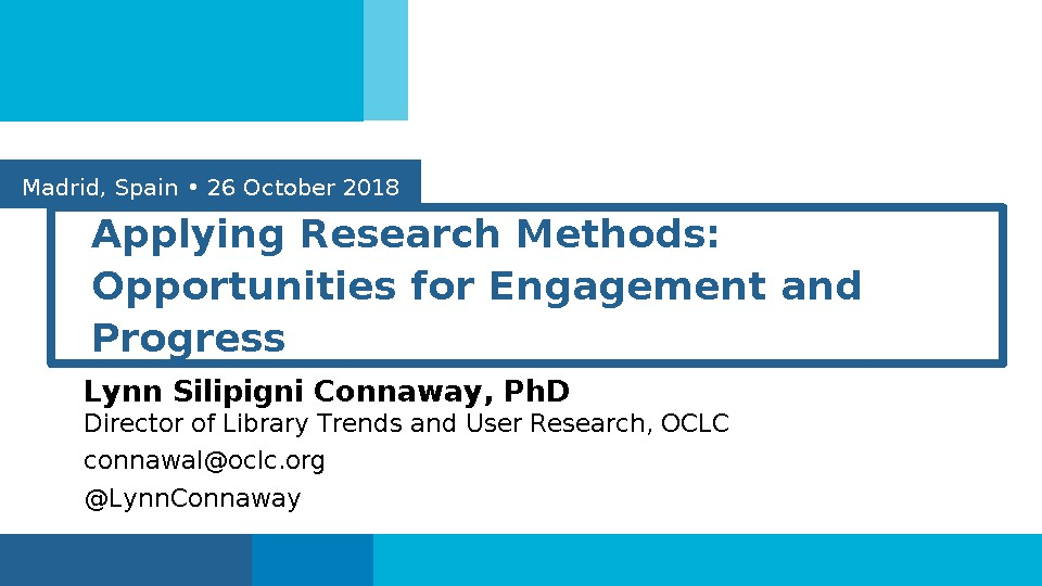 Applying Research Methods: Opportunities for Engagement and Progress