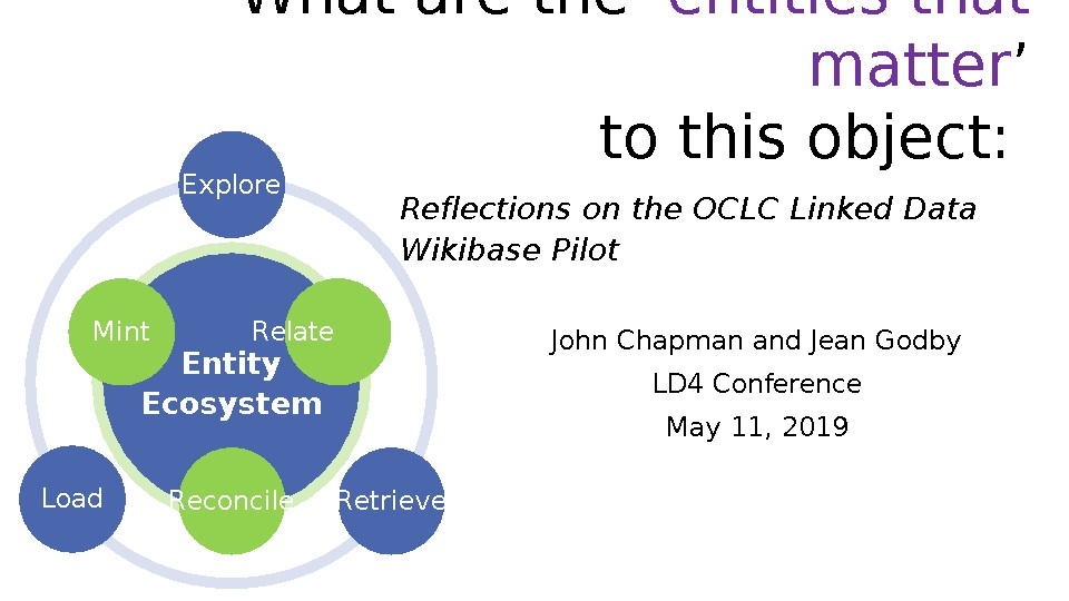 "What are the ""entities that matter"" to this object? Reflections on the OCLC Linked Data Wikibase Pilot)"