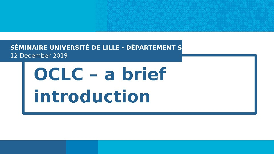 OCLC – A Brief Introduction