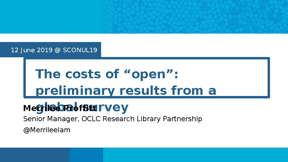 "The Costs of ""Open"": Preliminary Results from a Global Survey"