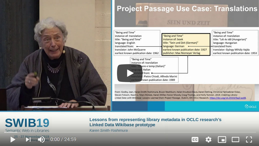 "This presentation highlights key lessons from OCLC Research's Linked Data Wikibase Prototype (""Project Passage""), a 10-month pilot done in 2018 in collaboration with metadata specialists in 16 U.S. libraries."