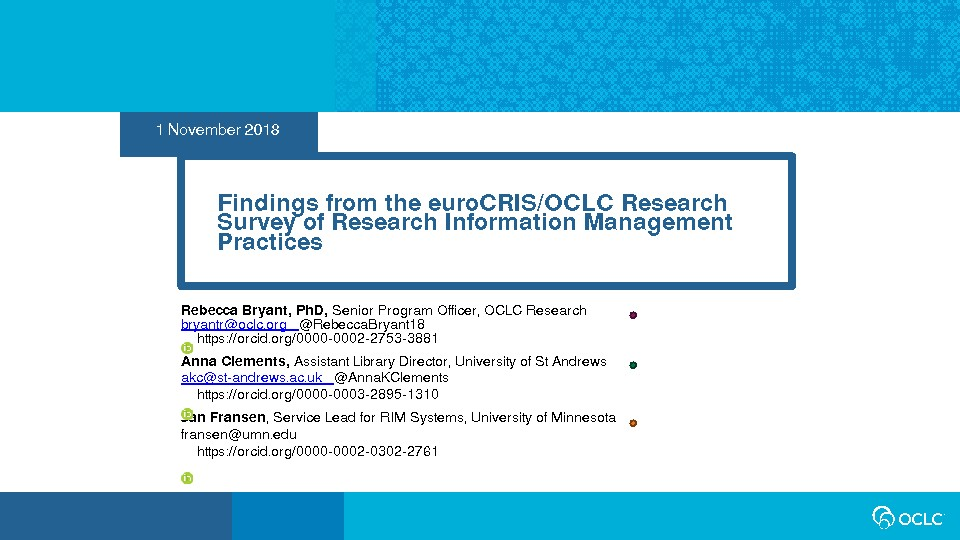 Findings from the euroCRIS/OCLC Research Survey of Research Information Management Practices