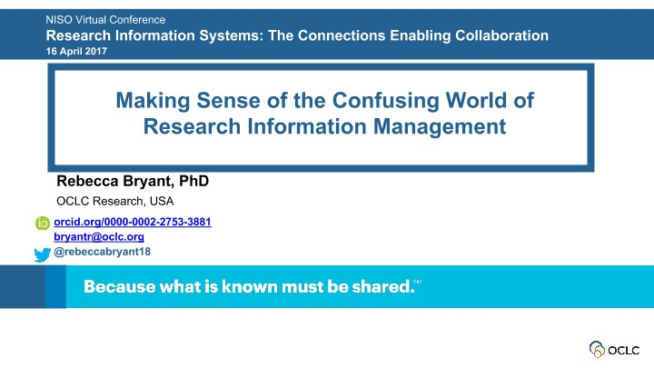 Making Sense of the Confusing World of Research Information Management