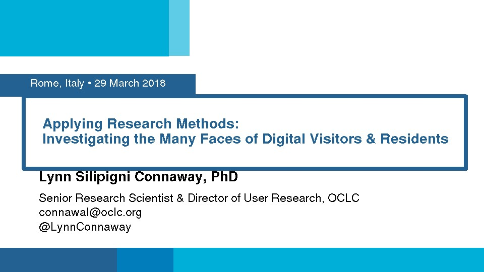 Applying Research Methods: Investigating the Many Faces of Digital Visitors & Residents