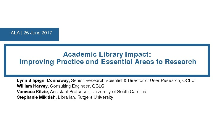 Academic Library Impact: Improving Practice and Essential Areas to Research
