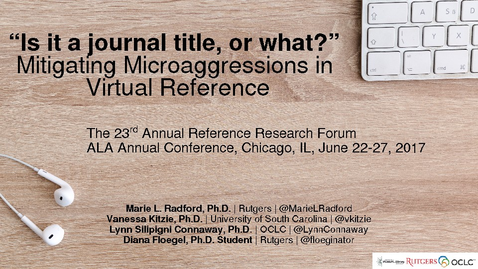 """Is it a journal title, or what?"" Mitigating Microaggressions in Virtual Reference"