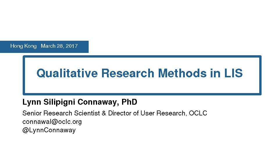 Qualitative Research Methods in LIS
