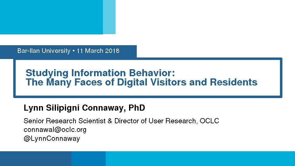 Studying Information Behavior: The Many Faces of Digital Visitors and Residents
