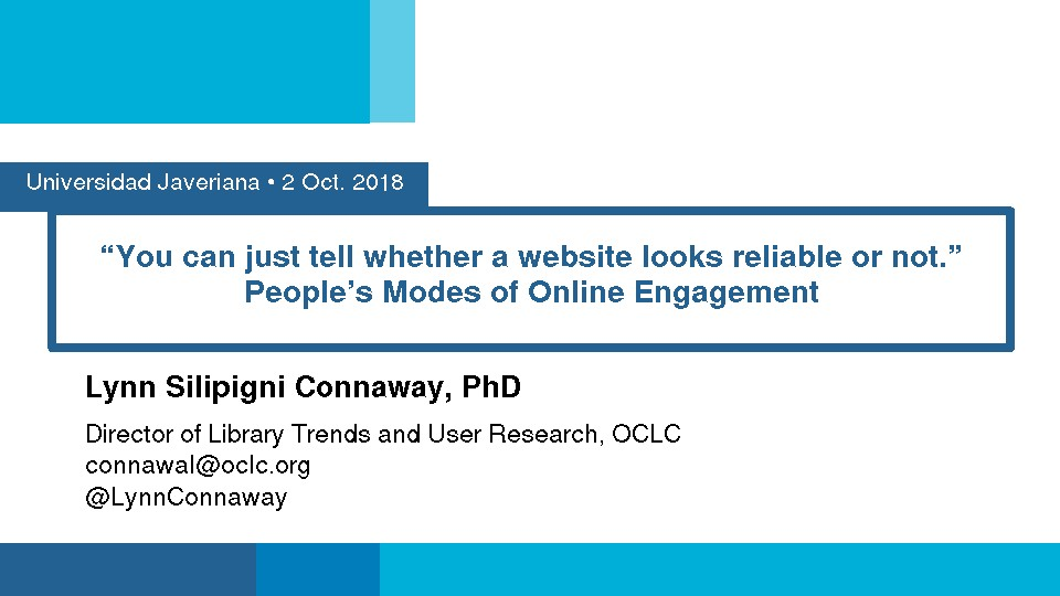 """You Can Just Tell Whether a Website Looks Reliable or Not."" People's Modes of Online Engagement"