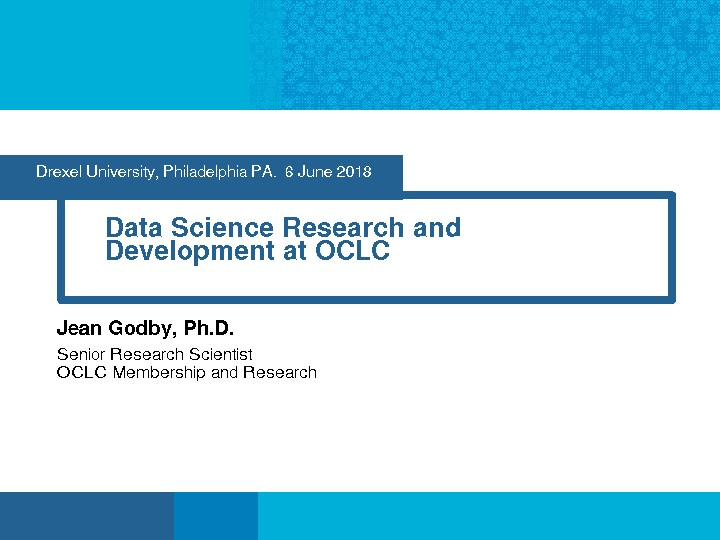 Data Science Research and Development at OCLC