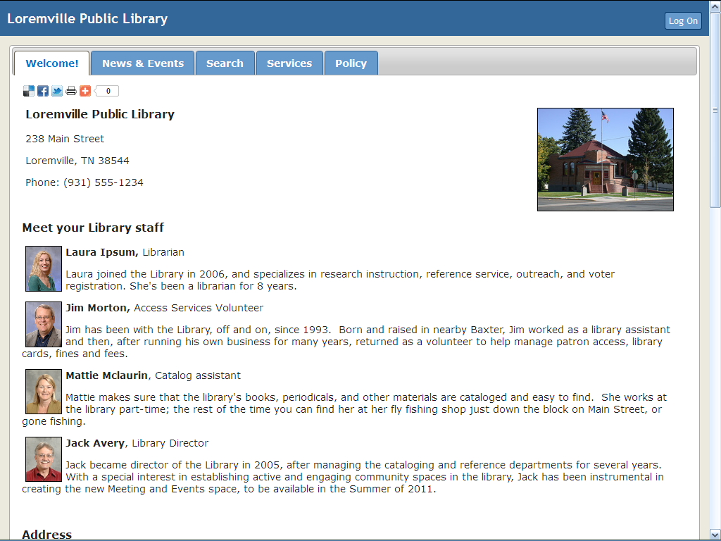 OCLC WSSL: Loremville Public Library sample website
