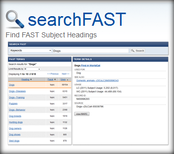 OCLC Research searchFAST user interface
