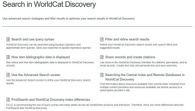 Searching in WorldCat Discovery