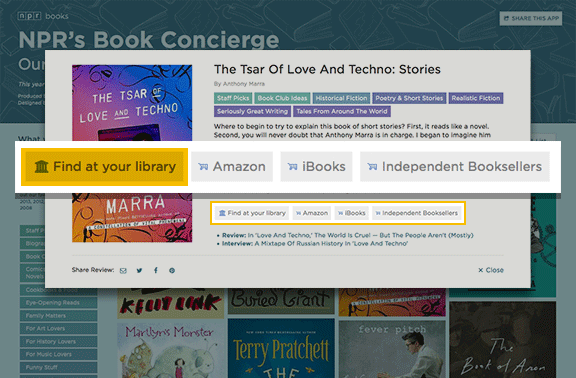 "Darstellung: NPR Book Concierge ""Find in a Library""-Link"