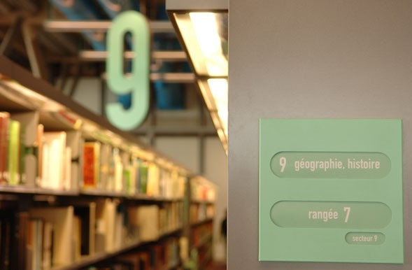 Library shelf signage