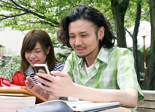 College students studying with smartphone