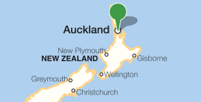 Map showing location of the University of Auckland