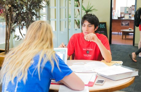 Students in the library at the College of Saint Benedict and Saint John's University