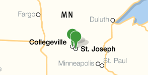 Map showing location of the College of Saint Benedict and Saint John's University