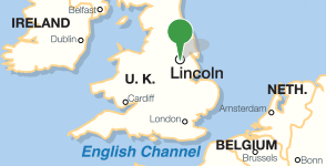 Map showing location of Bishop Grosseteste University
