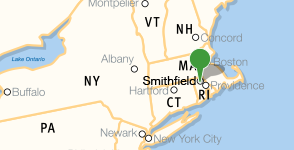 Map showing location of Bryant University