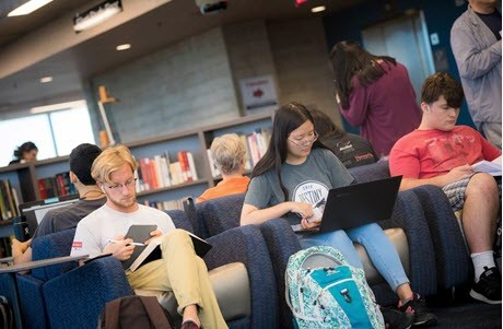 University of California students in the library
