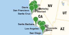 Map showing location of University of California campuses